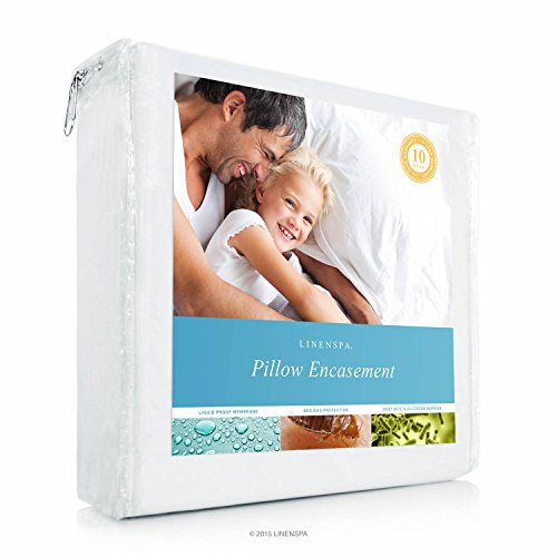 Linenspa Zippered Encasement Waterproof, Dust Mite Proof, Bed Bug Proof, Hypoallergenic Breathable Pillow Protector - Standard Size