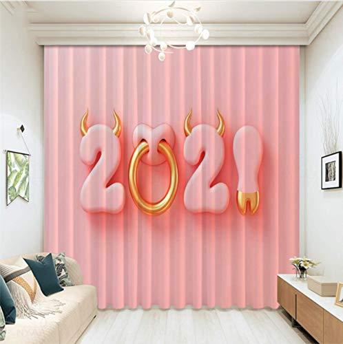 Cortinas Opacas De Ojales, 3D Impreso Digital Año Nuevo 2021 Dibujos Animados Vaca Tema Cortinas para Dormitorio Infantil Decoración De La Sala De Estar 150X166 Cm