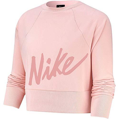 NIKE Sudadera Dry Get Fit Lux para Mujer, Mujer, Sudadera, CD4308, Rosa y Blanco., Large