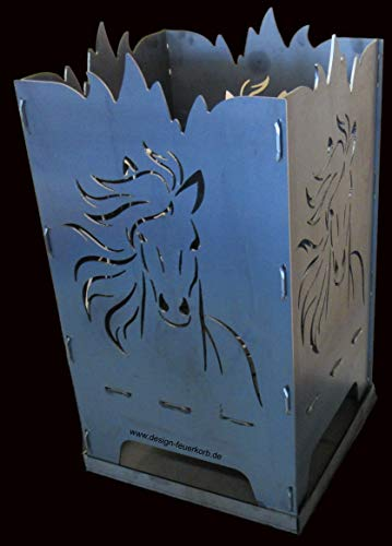 "Design Feuerkorb Feuerschale aus Stahl\""Pferd\"" 40x40x80 cm"