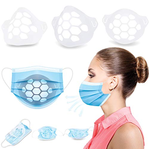 Face Mask Bracket - 25 Pack (Made in USA) Breathe Easier & Stay Cooler while Wearing Masks - No Makeup & Lipstick Smearing - Reusable 3D Inner Support Frame Brackets - Facial Shield for Skin Cover
