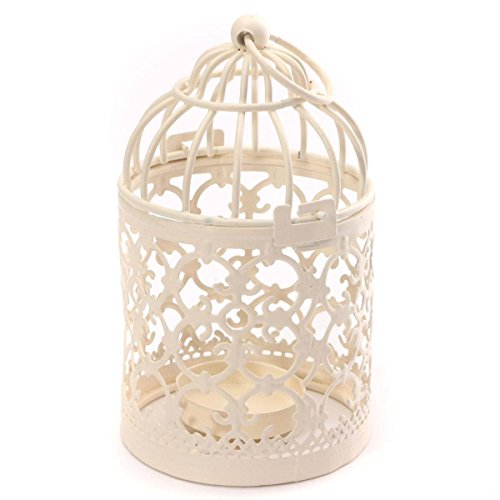 LAAT Metallkerzenhalter Laternen Vogelkäfig Form Kreativ Teelicht Romantische Kerzenständer Hängende Laterne Home Tischdekoration Birdcage für Hochzeitsfest Weiß 8x14cm (1)