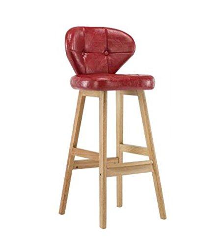 DXZ-Tabouret de bar Retro Iron Bar Chair Tabouret de bar, Sièges en bois massif Restaurant Ménage Chaise à manger créative Etude décontractée Chaise de dossier, Rouge Coussin en cuir PU Vintage design