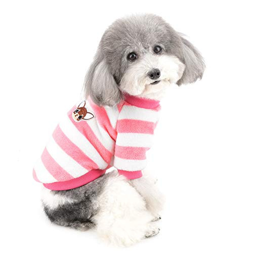 ZUNEA Jerséis Invierno para Perro Pequeño Forro Polar Invierno Abrigos Chaquetas para Cachorros a Rayas Supersuave Ropa para Climas Fríos para Mascotas Chihuahua Gatos Perros Niñas Niños Rosa S
