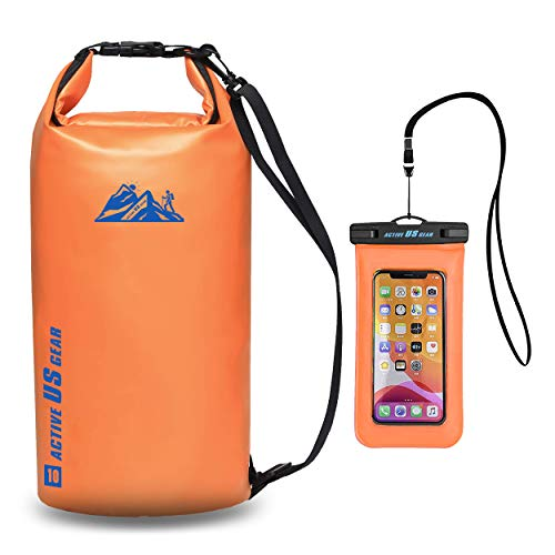 Floating Dry Bag Set – Heavy Duty Waterproof Floating Pack - Touch Friendly Phone Case and Waist Pouch - Lightweight and Durable Travel Gear for Kayaking, Fishing, Boating, and Water Sports Orange 10L
