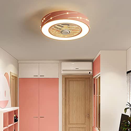 YUNZI Moderno Ventilador de Techo con lámpara LED Encendiendo, 50cm Silencio Lámparas de Techo con Ventilador, 46W Lámpara de Techo para Dormitorio, Cuarto de los niños, Chico, Niña Regalo,Rosado