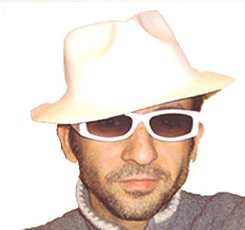 Mondial-Fete - 12 Chapeaux al Capone Blancs élastomère