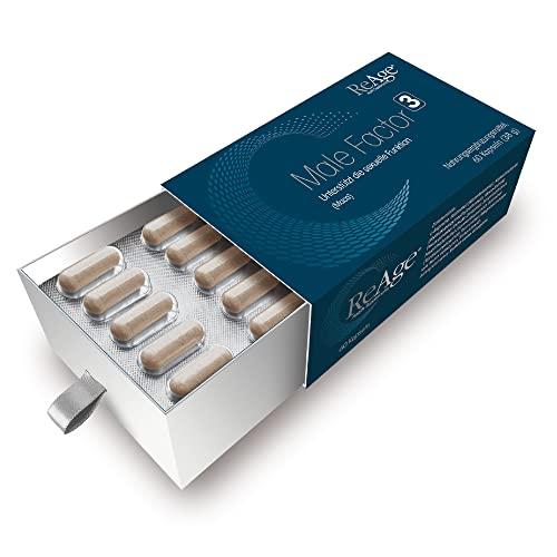 Male Factor 3 für Männer | 100% Natürlicher Testosteron und Libido Booster für Männer | MACAWURZEL - ZINK - SELEN | 60 Kapseln | Hergestellt in den Niederlanden von ReAge®
