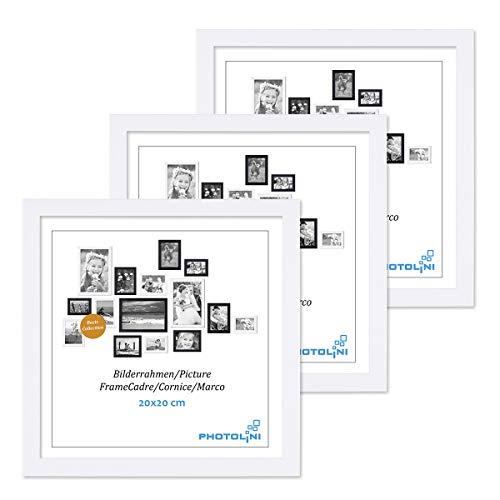 Photolini Juego de 3 Marcos 20x20 cm Modernos, Blancos de MDF con Vidrio acrílico, Incluyendo Accesorios/Collage de Fotos/galería de imágenes