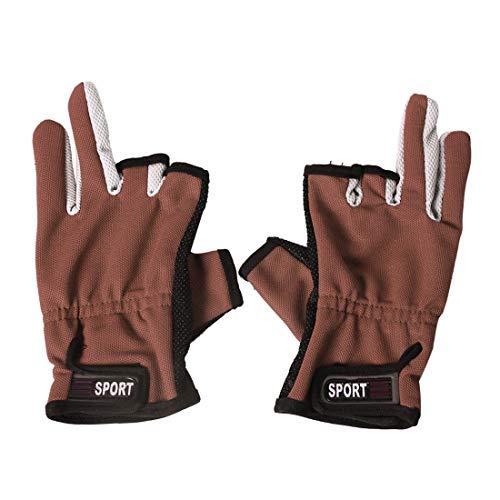Tuzi Qiuge Angelhandschuhe 1 Paar 3 Finger exponiert atmungsaktive Anti-rutschige Angelhandschuhe (rot) QiuGe (Color : Brown)