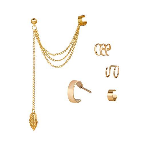 DUOYO 5 pezzi orecchini dorati Helix cartilagine clip su orecchino avvolgente non piercing cartilagine orecchini per le donne ragazze forniture