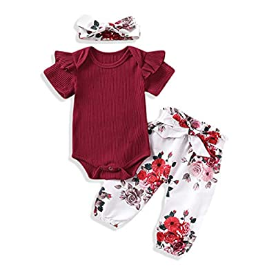 3Pcs Baby Girls Fall Clothes Kint Ribbed Ruffle Romper+Floral Pants+Headband Outfit Sets (Red 2, 0-3 Months)