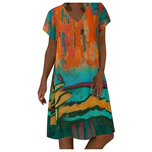 QUINTRA Women Summer V Neck Sleeveless Mini Dresses Short Sleevel Tunic Top T-Shirt Casual Swing Dress Halterneck Rockabilly Dress(B Green,3XL)