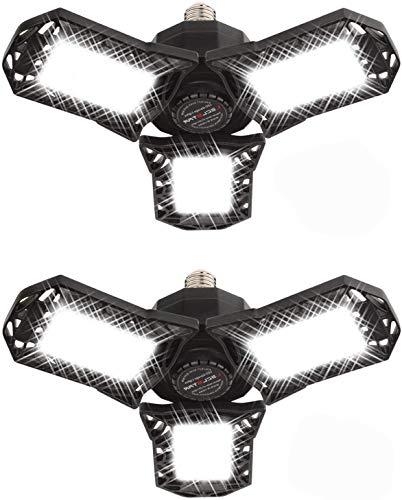 Lámpara Garaje LED,Swonuk 2 Pack Lluminación de Garaje Lámparas de Techo de Garaje de Tres Hojas 6000K con Paneles Ajustables Luces LED con Tapa de Bayoneta E27