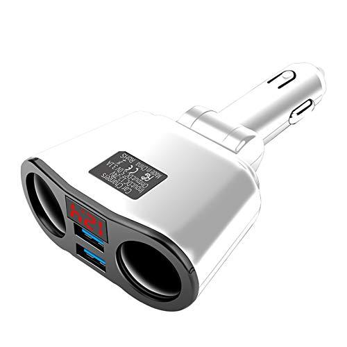 RJJX 12-24V Coche Encendedor Encendedor Adaptador Doble USB Teléfono Carga automática Splitter Splitter Adaptador de Corriente Rotación Accesorios para automóviles (Color Name : White)
