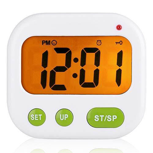 Digitale wekker, lcd-trilfunctie, op batterijen, moderne draagbare timer klok met achtergrondverlichting, geschikt voor kantoor, slaapkamer, reizen,