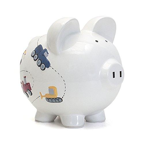 Child to Cherish Ceramic Piggy Bank for Boys, Construction Trucks, White