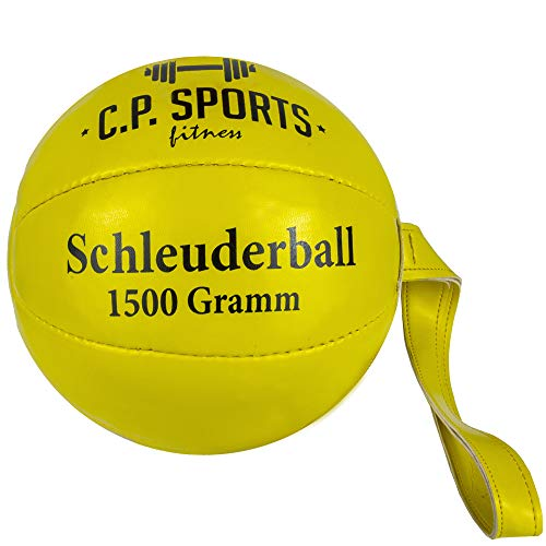 C.P. Sports Wurfball oder Schleuderball – 80g, 200g, 800g, 1000g, 1500g – Synthetisches Leder – Sport, Training, Fitness, Freizeit, Wettkampf – Ball, Schlagball, Werfen – Schleuderball Neongelb 1500g