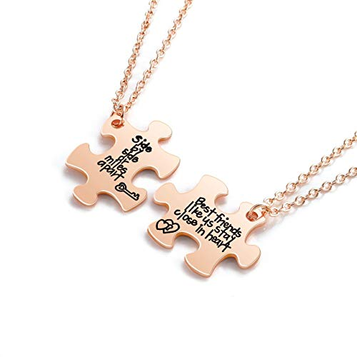 JSDDE Friendship Puzzle Necklace Rose Gold BFF Best Friends Pendant Necklaces for Friend of 2