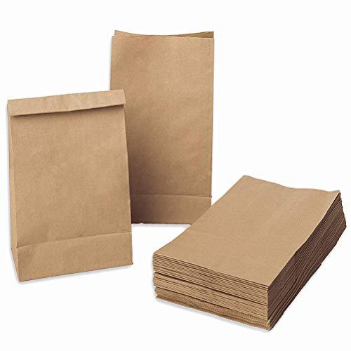 QLOUNI Sacchetti Carta Alimenti 100pz Sacchetti Carta Kraft, Bustine Carta, Bustine Regalo, Piccoli Borsa d'Asporto Confezione Pane 18x9x5.5cm, 70 gr./m2, per Confetti Pane Caramelle Pop Corn Spuntino