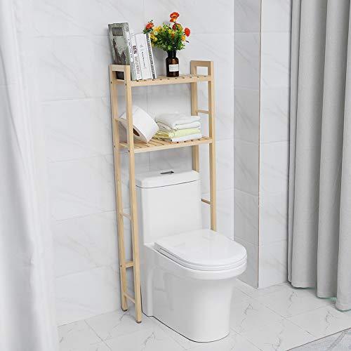 Cocoarm Estantería para Baño WC Estantería Auxiliar de Madera Estantería para Almacenamiento sobre el Inodoro Ahorro de Espacio (2 Niveles)