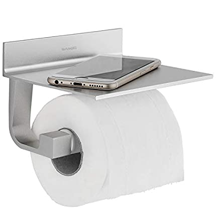 Wangel Portarrollo para Papel Higiénico, Pegamento Patentado + Autoadhesivo, Aluminio, Acabado Mate (Versión Actualizada)
