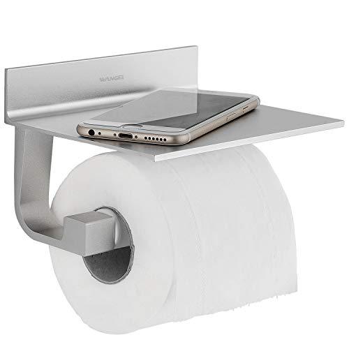Wangel Toilettenpapierhalter ohne Bohren, Patentierter Kleber + Selbstklebender Kleber, Aluminium, Matte Finish