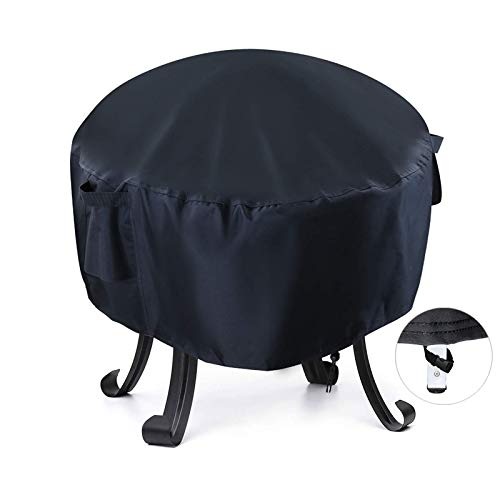Onlyme Fire Pit Cover Round - 22 Inch Waterproof Fire Bowl Cover Compatible with Outdoor Patio Firepit Bowl Solo Stove Bonfire - Black (22''Dia x 22''H)