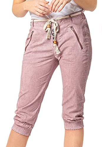 Sublevel Damen Baumwoll Capri Stoff-Hose mit Bindegürtel Light-Rose L
