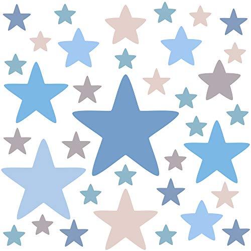 PREMYO 36 Estrellas Pegatinas Pared Infantil - Vinilos Decorativos Habitación Bebé Niños - Fácil de Poner Azul Pastel