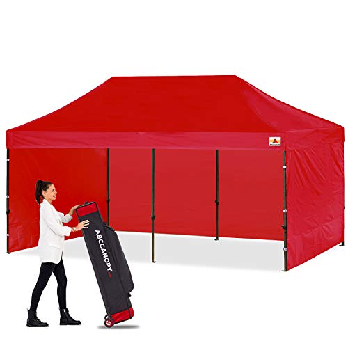 ABCCANOPY Canopy Tent Popup Canopy 10x20 Pop Up Canopies Commercial Tents Market stall with 6 Removable Sidewalls and Roller Bag Bonus 4 Weight Bags and 10ft Screen Netting and Half Wall, Red