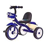 Vistoso Para niños 3 ruedas Bicicleta Triciclo, 1-3-5 años Antiguo Chico y Niña Equilibrar Bicicleta Bebé Guardería Juguete Bicicleta con Frente y Posterior Almacenamiento Cestas y Campanas,Azul