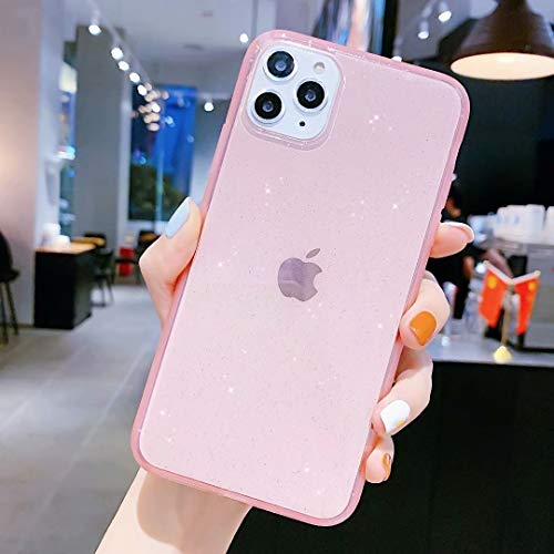 iPhone 11 Pro Max Case for Girly,Anynve Clear Glitter Sparkle Bling Case [Anti-Shock Matte Edge Bumper Design] Cute Slim Soft Silicone Gel Case Compatible for iPhone 11 Pro Max 6.5''-Pink