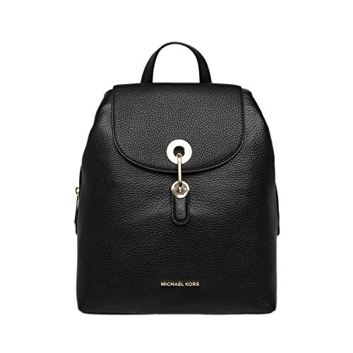 """Small sized bag: 10""""W x 11""""H x 5-1/2""""D (width is measured across the bottom of backpack); 1.75 lbs. approx. weight Silhouette is based off 5'9"""" model 4""""L handles; 27""""-31""""L adjustable straps Snap closure Gold-tone exterior hardware & 1 back slip pocke..."""