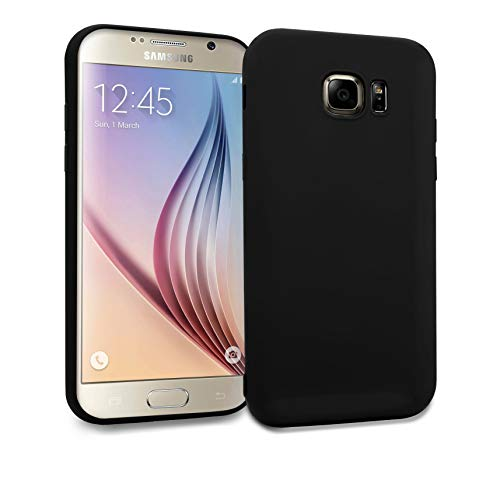MyGadget Silikon Hülle TPU Case für Samsung Galaxy S6 Edge - Soft Back Cover (1,2 mm Slim) Schutzhülle Dünn & Flexibel Handyhülle Schale - Matt Schwarz