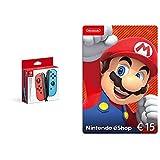 Nintendo - Mando Joycon Set, Color Azul Y Rojo (Nintendo Switch) + Nintendo eShop Tarjeta de regalo 15€   Nintendo Switch - Código de descarga