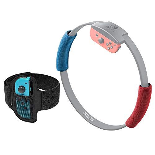 FYOUNG Correa para Pierna para Ring Fit Adventure Nintendo Switch y Almohadillas de Agarre Accesorios para Ring-con, Elástico Ajustable Banda para Pierna y Cubiertas Suaves de Agarre Ring-con