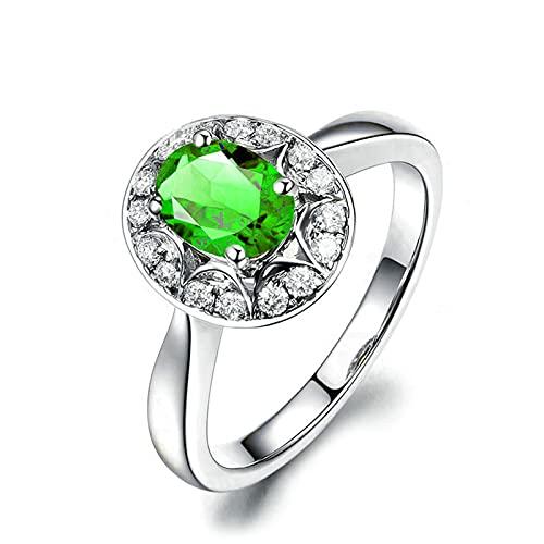 KnSam Mujer Unisex plata de ley 925 plata ovalada verde Cubic Zirconia