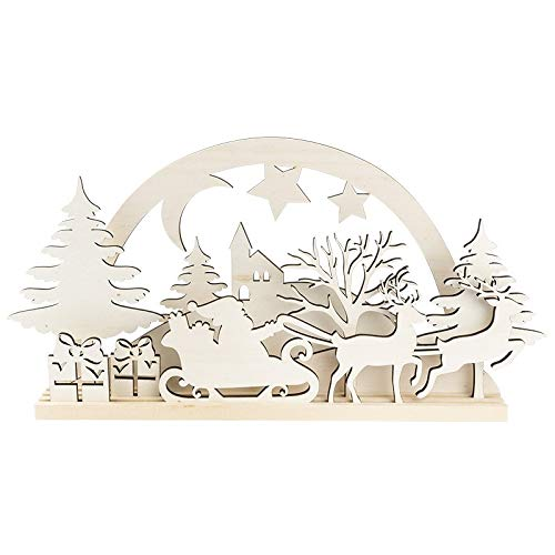 3-D Landschaft zum Stecken   Weihnachtsmann, Podest & versch. Holzelemente   11-teilig