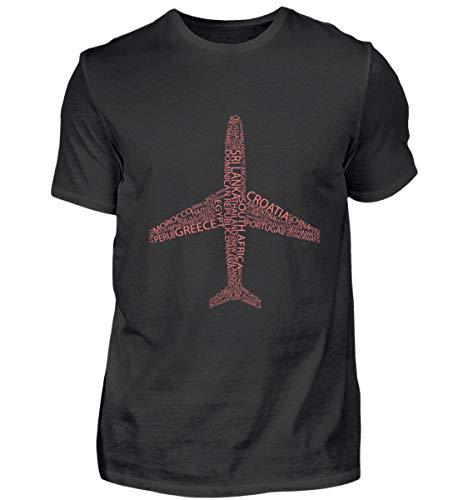 44 Ländernamen = Flugzeug - Reise, Weltreise, Travel, Urlaub, Backpack, Wanderlust T-Shirt - Herren Shirt -S-Schwarz