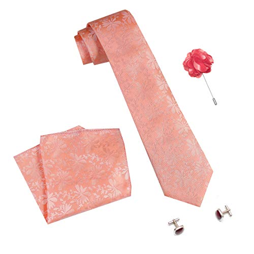 nu-Lite Men's Micro Polyester Casual Formal Floral Printed Necktie Set with Pocket Square, Brooch Pin and Cufflinks (Free Size)