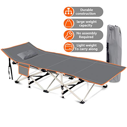 Folding Camping Cots for Adults with Air Cushion Pillow, 440LBS(Max Load) Portable Sleeping Cots Bed for Outdoor Travel/Office/and Home (Gray)