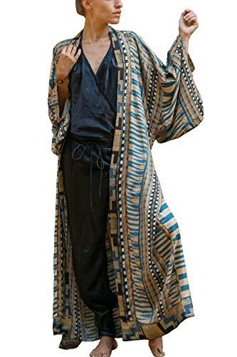 YOUKD Maxi Vestito da Donna Copricostume da Spiaggia con Cardigan a Maniche Lunghe a Kimono Bohémien