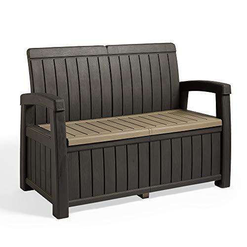 VonHaus Garden Storage Bench – Durable All Weather Plastic - Wood Effect – Outdoor Garden Storage Box - Furniture for Patio, Decking, Balcony – Black and Grey