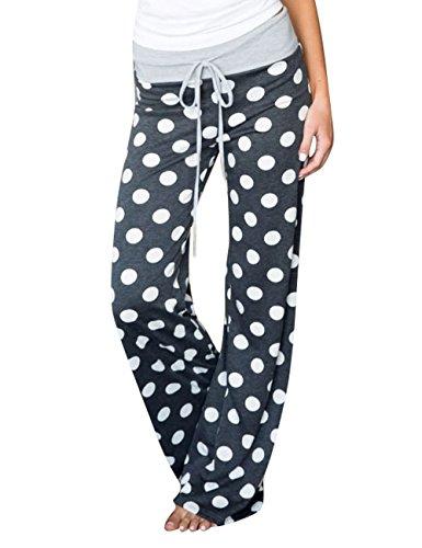 Assivia Damen Sommer-Pyjamahose mit Blumenmuster, Kordelzug, Palazzo Lounge-Hose, breites Bein - Grau - Klein