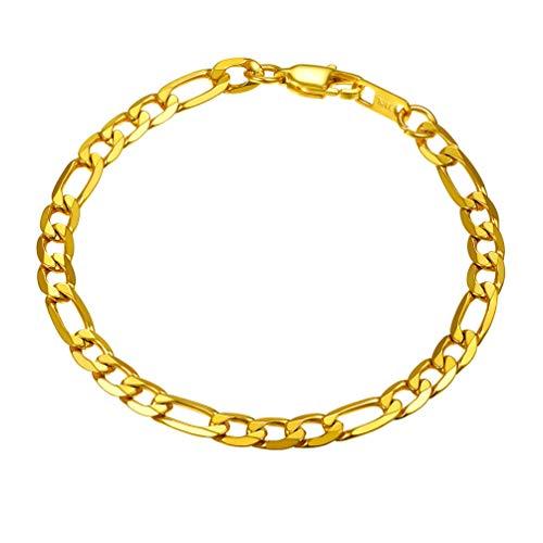 PROSTEEL Men Gift 18K Gold Chain Bracelet Firgaro Wristband Boys Male Jewelry