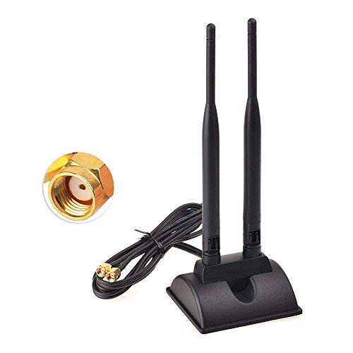 Eightwood Dual WiFi Antenna with RP-SMA Male Connector, 2.4GHz 5GHz Dual Band Antenna Magnetic Base for PCI-E WiFi Network Card USB WiFi Adapter Wireless Router