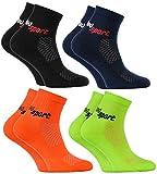 Rainbow Socks - Jungen & Mädchen Neon Sneaker Sportsocken - 4 Paar - Schwarz Blau Orange Grün - Größen 30-35