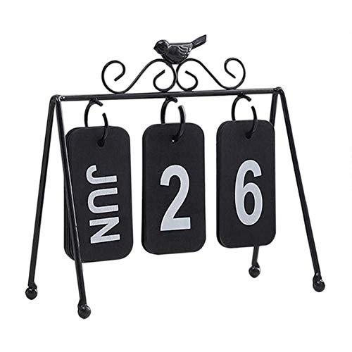 FFYUGO Nordic Hierro Forjado Vuelta de páginas Calendario decoración, la Forma del pájaro, la decoración del hogar Decoración Decoración de Escritorio del Calendario de Escritorio,Negro