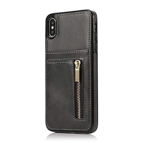 Suhctup Coque Compatible pour Samsung Galaxy S7 Edge Housse Etui de Protection en Silicone TPU Souple,Multifonctions en Cuir Portefeuille Case Zipper avec Fente Cartes de Crédit(Noir)